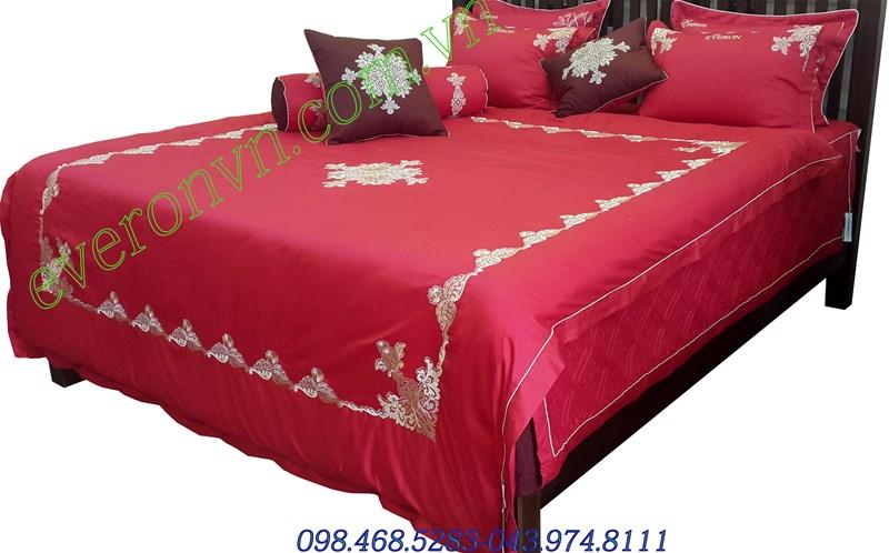 bộ chăn ga gối everon màu đỏ es 1604