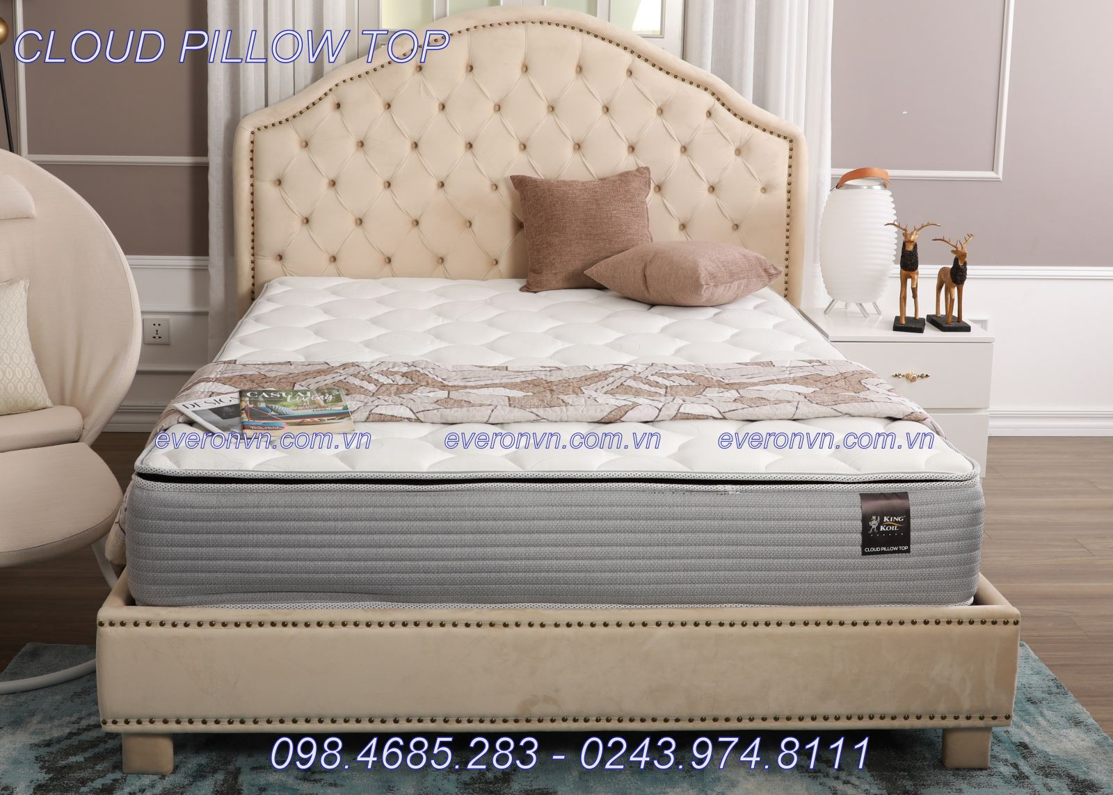ĐỆM LÒ XO EVERON KINGKOIL CLOUD PILLOW TOP