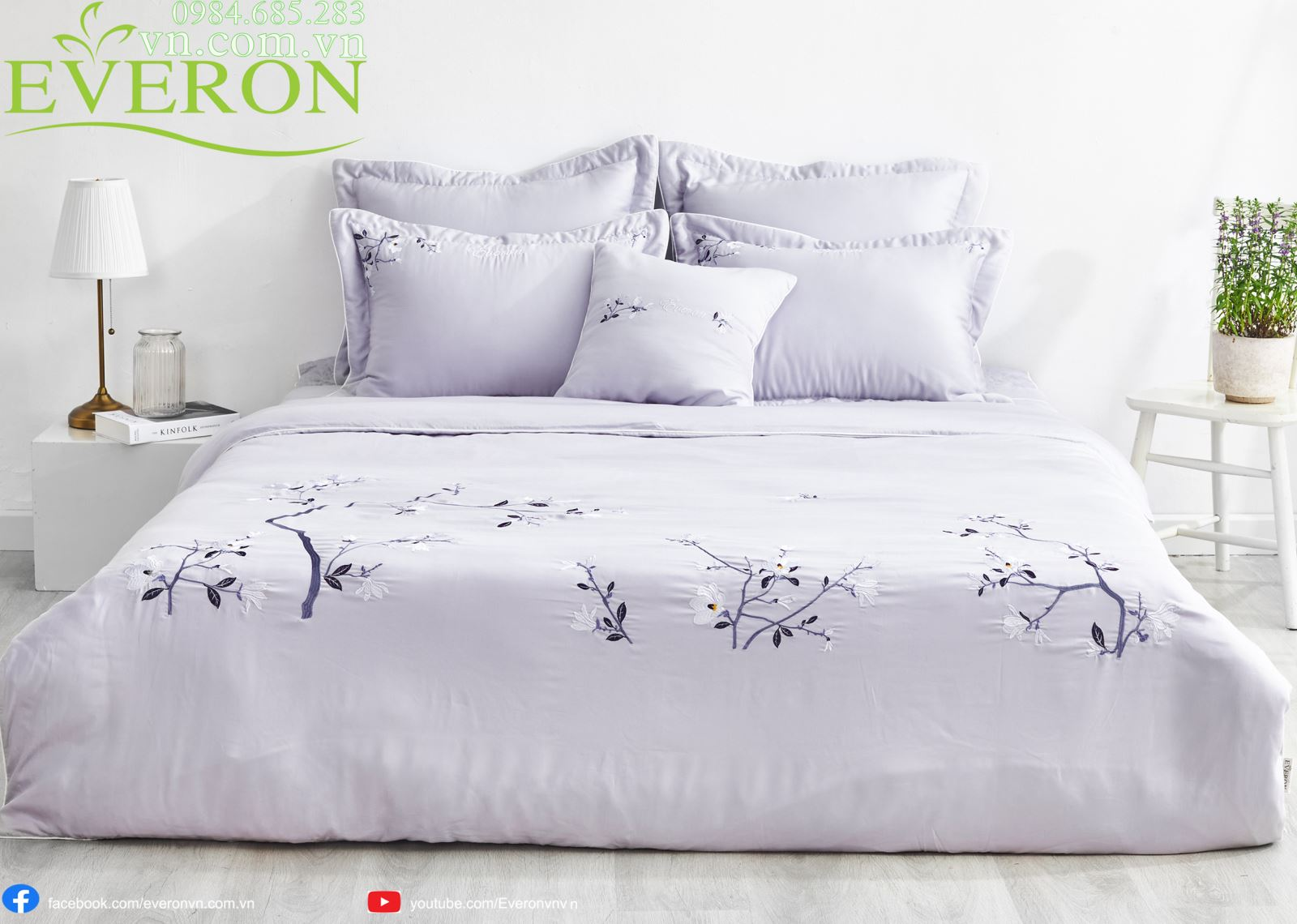 Bộ chăn ga Everon chất vải Lụa Tencel